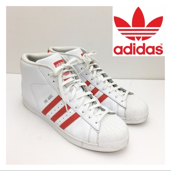 césped proteína claro  adidas Shoes | Adidas Pro Model High Top Sneaker White Red | Poshmark